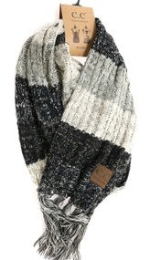 C.C. Tri Color Scarf- Black/ Grey