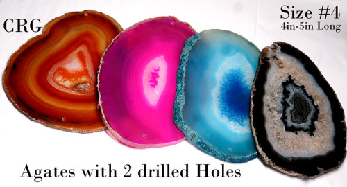 """Agate Slices with 2 Drilled Holes 4 """"- 4.5 """" Size #4"""
