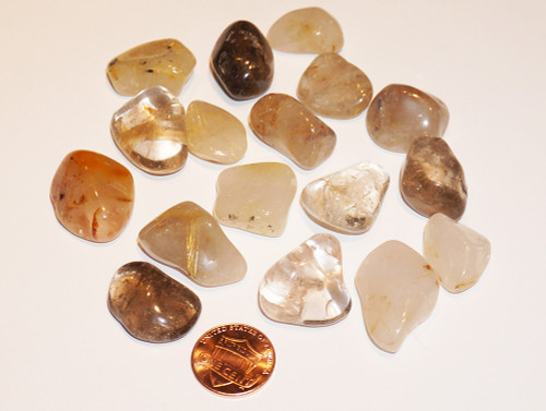 Rutilated Quartz Tumbled Gemstones 1-LB