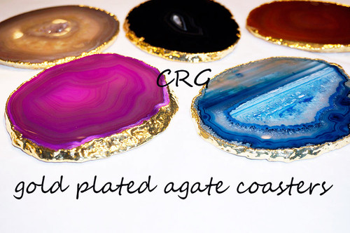 """#4 Gold Plated Agate Coaster QTY-1 / NO CORK/ 4""""-4.5"""""""