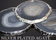 "#2 Silver Plated Agate Slice 2.75""-3"" QTY-1"