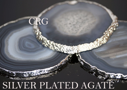 """#2 Silver Plated Agate Slice 2.75""""-3"""" QTY-1"""