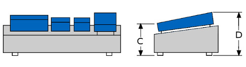 Pedal Board diagram front and side view
