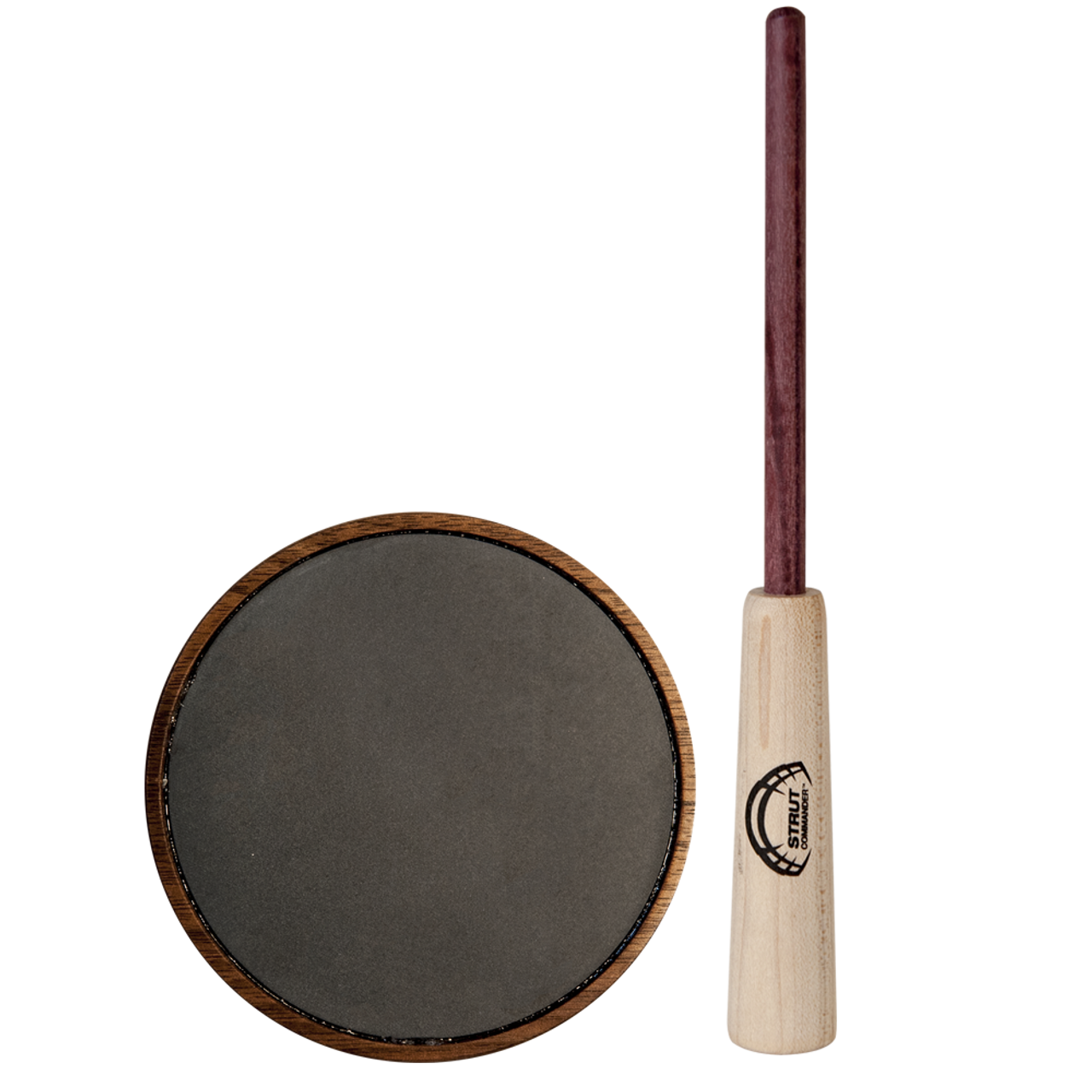 The Ole Scratch Strut Commander Slate pot call features a hand-turned walnut wood pot, a slate surface capable of producing a more mellow, raspy variety of yelps, clucks, cutts, and purrs, and a 2-piece purple heart wood striker.
