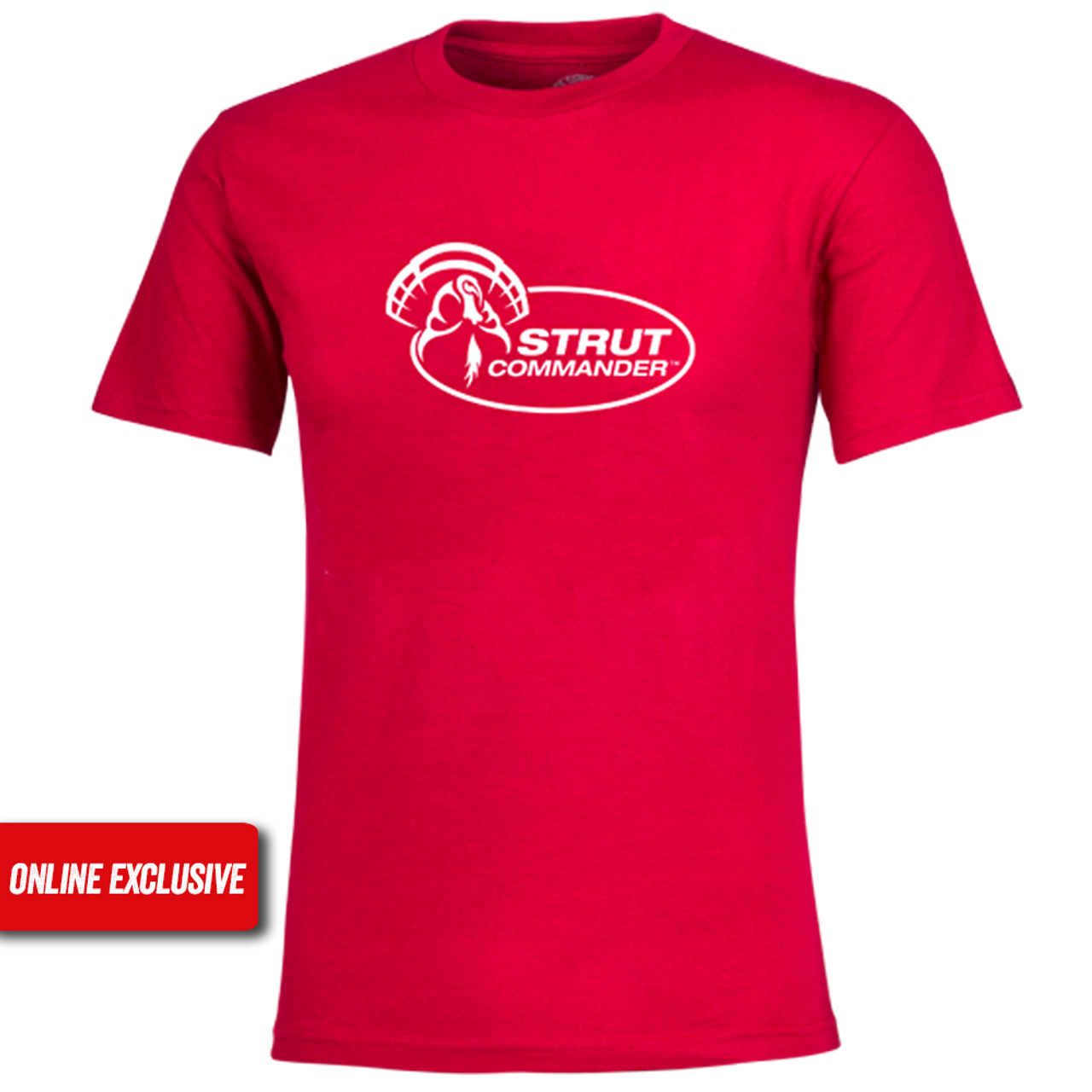 Red, 100% cotton Strut Commander short sleeve tee with the full Strut Commander logo screen printed in white.