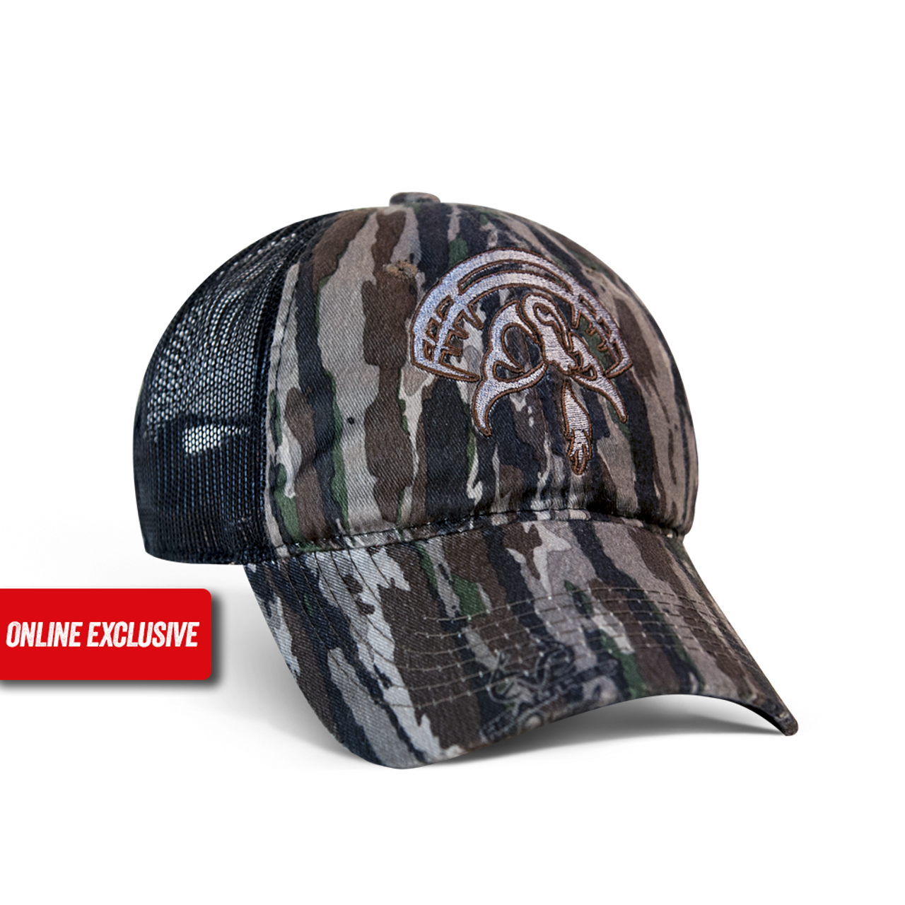 Original Real Tree Camo cap with black mesh back, velcro closure and the Strut Commander logo embroidered on the front in grey with a burgundy outline.