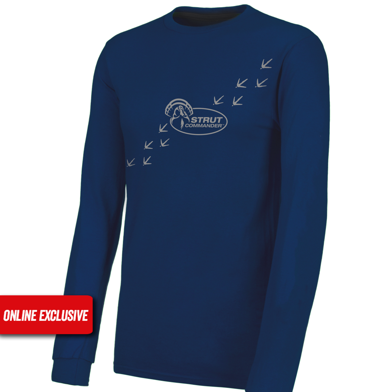 Navy blue, long sleeve tee with turkey tracks and Strut Commander logo screen printed in gray ink.