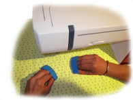 Quilters Grips gives you a rigid grip for pushing fabric when free motion quilting. Silicon & latex free!