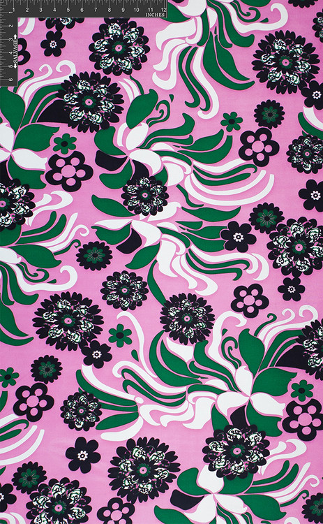 Girlometry 100% Silk Printed Double Jersey Floral Fabric by the Yard 120 GSM