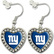 New York Giants Crystal Heart Earrings