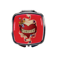 Forever Heart Tattoo Compact Mirror