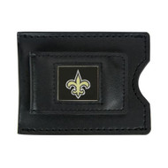 New Orleans Saints Leather Money Clip and Card Case