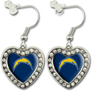 San Diego Chargers Crystal Heart Earrings