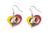 Washington Redskins Swirl Heart Earrings