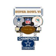 Super Bowl VI (6) Cowboys vs. Dolphins Champion Lapel Pin