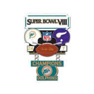 Super Bowl VIII (8) Dolphins vs. Vikings Champion Lapel Pin