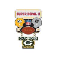 Super Bowl II (2) Packers vs. Raiders Champion Lapel Pin