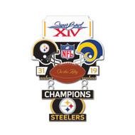 Super Bowl XIV (14) Steelers vs. Rams Champion Lapel Pin