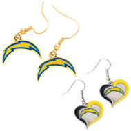 San Diego Chargers Logo and Swirl Heart Earrings