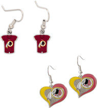 Washington Redskins Jersey and Swirl Heart Earrings