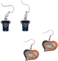 Chicago Bears Jersey and Swirl Heart Earrings