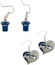 Seattle Seahawks Jersey and Swirl Heart Earrings