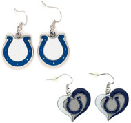 Indianapolis Colts Logo and Swirl Heart Earrings