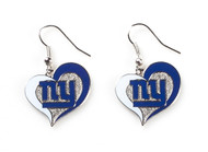 New York Giants Swirl Heart Earrings (2 Pack)