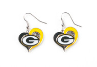 Green Bay Packers Swirl Heart Earrings (2 Pack)