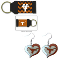 University Of Texas Chevron Keychain and Swirl Heart Earrings