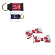 University of Mississippi Hair Bow Pair and Chevron Keychain