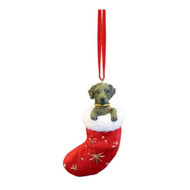 Santa's Little Pals Chocolate Labrador Stocking Christmas Ornament