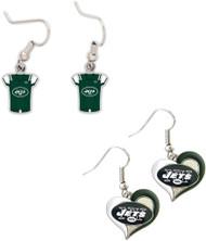 New York Jets Jersey and Swirl Heart Earrings