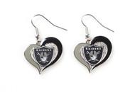 Oakland Raiders Swirl Heart Earrings (2 Pack)