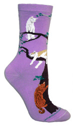 Cats in Trees Purple Cotton Ladies Socks