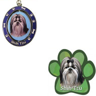 Bundle - 2 Items: Black and White Shih Tzu Spinning Keychain and Paw Magnet