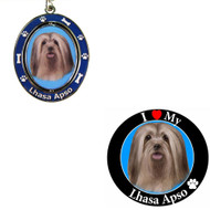 Bundle - 2 Items: Lhasa Apso Spinning Keychain and I Love My Magnet