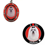 Bundle - 2 Items: Maltese Spinning Keychain and I Love My Magnet