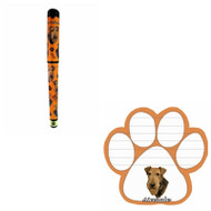 Bundle - 2 Items: Airedale Dog Paw Magnetic Note Pad & Gel Pen