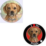 """Bundle - 2 Items: Puggle Absorbent Car Cup Coaster & Circle """"Love"""" Magnet"""