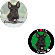 "Bundle - 2 Items: Scottie Absorbent Car Cup Coaster & Circle ""Love"" Magnet"