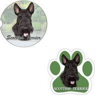 Bundle - 2 Items: Scottie Absorbent Car Cup Coaster & Paw Magnet