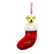 Santa's Little Pals Yellow Labrador Stocking Christmas Ornament