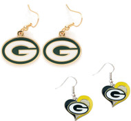 Green Bay Packers Logo and Swirl Heart Earrings