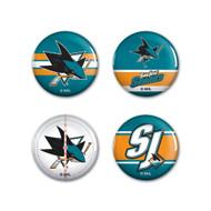 San Jose Sharks Buttons 4-Pack