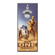 Star Wars R2-D2 and C-3PO Wooden Wall Mounted Bottle Opener