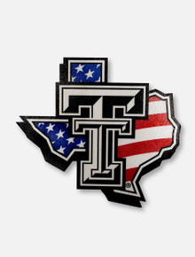 Texas Tech Red Raider American Flag Pride Logo Decal