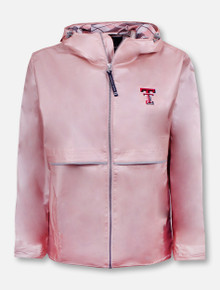 "Charles River Texas Tech Red Raiders Double T Rose Gold ""New Engladner"" Rain Jacket with Plaid Lining"