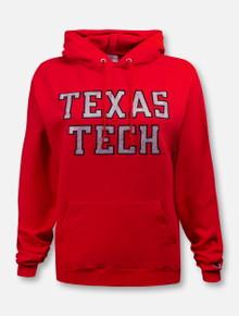 "Champion Texas Tech Red Raiders ""Rugged Glitter Football Font"" Hoodie Sweatshirt"
