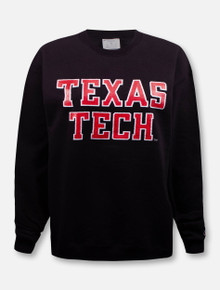 """Champion Texas Tech Red Raiders """"Rugged Glitter Football Font"""" Crew Pullover"""